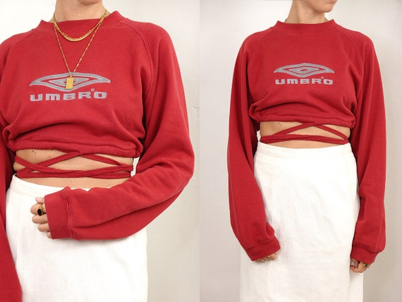 Umbro Jumper Umbro Sweater Cropped Jumper Reworked Sweatshirt Cropped Vintage Red Jumper Vintage Hoodie 90s Vintage Clothing