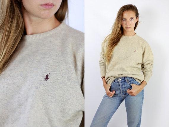 RALPH LAUREN Jumper Ralph Lauren Sweater  Ralph Lauren Women  Polo Ralph Lauren  Beige Wool Jumper  Beige Wool Sweater Vintage Jumper Wp89