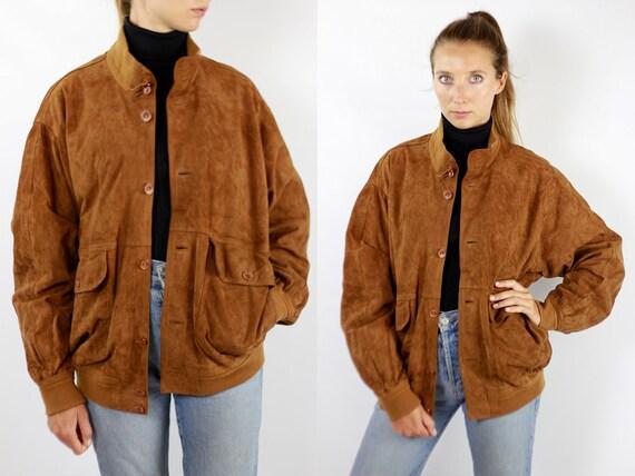 Vintage Suede Jacket Vintage Suede Bomber Suede Bomber Jacket Brown Suede Jacket Brown Bomber Jacket Soft Suede Jacket Large Suede WLJ76
