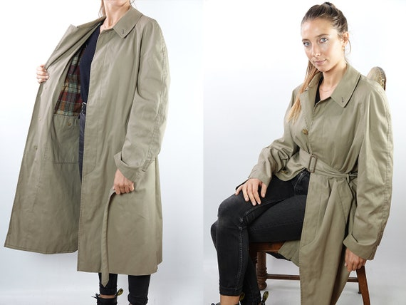 Vintage Trench Coat Long Trench Coat Long Coat Beige Trench Coat Small Womens Trench Coat 80s Trench Coat Light Vintage Clothing CO125