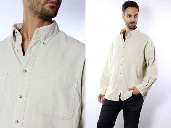 Timberland Corduroy Shirt / Timberland Shirt / Shirt Corduroy / Button Shirt / Timberland / Corduroy Button Shirt / Beige Shirt Vintage HE21