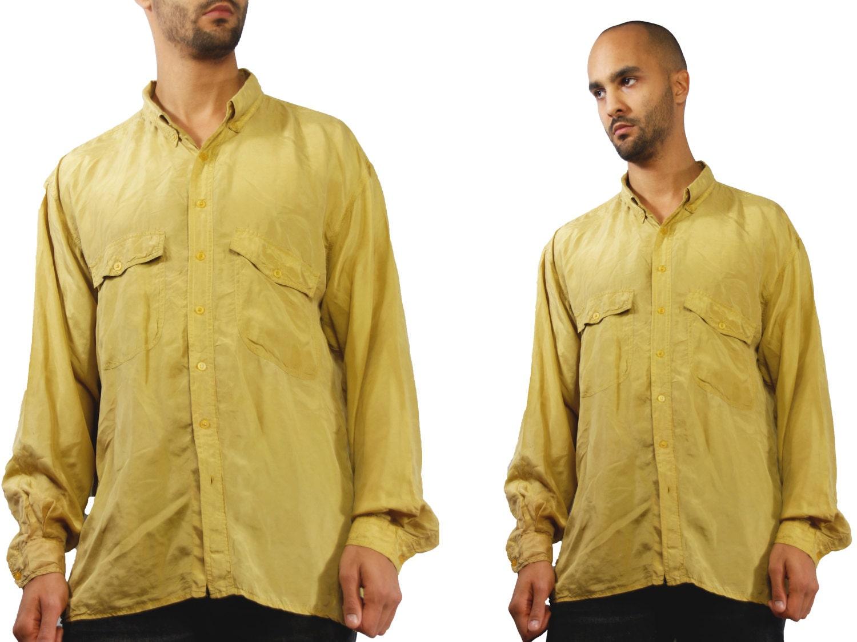 83bcdbeb27a Mens Silk Shirt   Silk Shirt Men   Silk Button Up   Silk Button Down   90s  ...