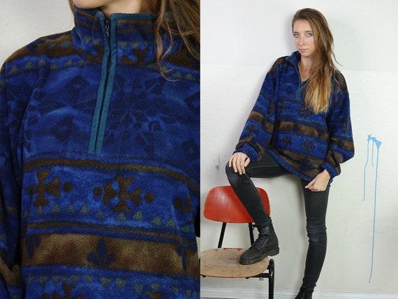 Fleece Jumper Fleece Cardigan Vintage Jumper Vintage Sweatshirt Fleece Sweatshirt Teddy Jumper Vintage Clothing Tribal Jumper FS22