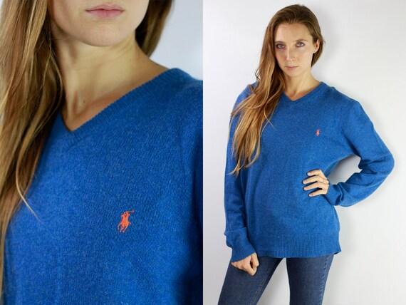 RALPH LAUREN Jumper Ralph Lauren Sweater Ralph Lauren Women Polo Ralph Lauren Blue Wool Jumper Blue Wool Sweater Vintage Jumper P34