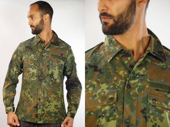 Button Shirt Camo / Camo Shirt / Camouflage Shirt / Shirt Military / Shirt Army / Military Shirt / Vintage Army Shirt / Army Shirt Vintage