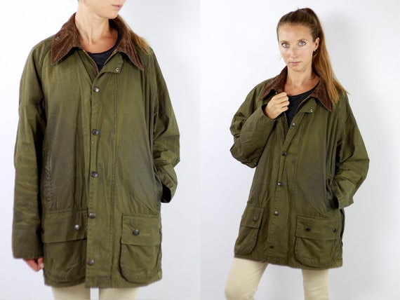 Barbour Coat Barbour Jacket Barbour Wax Jacket Barbour Wax Coat Barbour Green Jacket Barbour Green Coat barbour beaufort Vintage Jacket C92