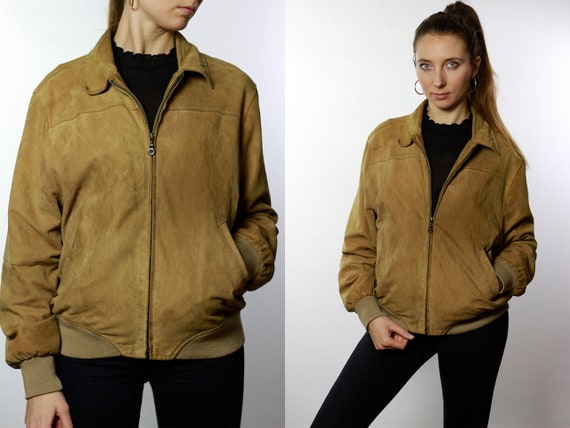 Suede Jacket Suede Bomber Jacket Leather Jacket Vintage Clothing Vintage Jacket Womens Jacket Brown Suede Jacket Brown Leather Jacket SUJ72