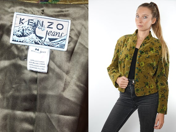 KENZO Jacket Crushed Velvet Velvet Blazer Crushed Velvet Coat Velvet Jacket  Cropped Jacket 80s Crushed Velvet 80s  Vintage Clothing JA95