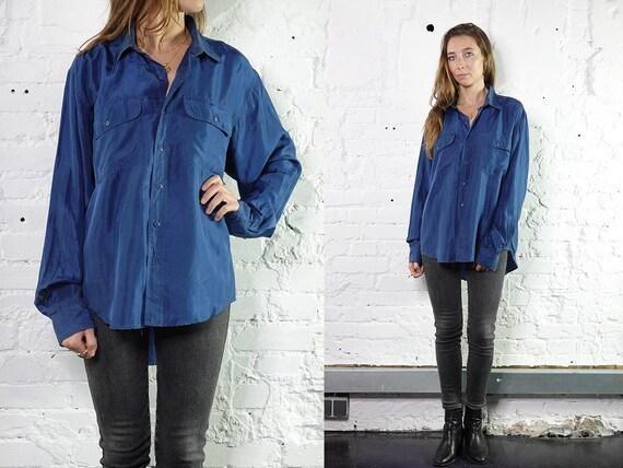 Summer blouse Silk Shirt Vintage 80's Shirt Womens Shirt Vintage Shirts Womens Shirt Vintage Clothing Loose Shirt Blue Blouse SB9