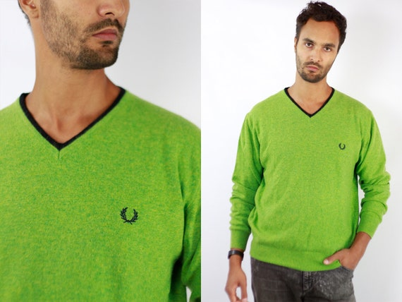 FRED PERRYSweater Fred Perry Sweatshirt Fred Perry Jumper Green Jumper Fred Perry Vintage Green Wool Sweater  Wool Jumper WP86