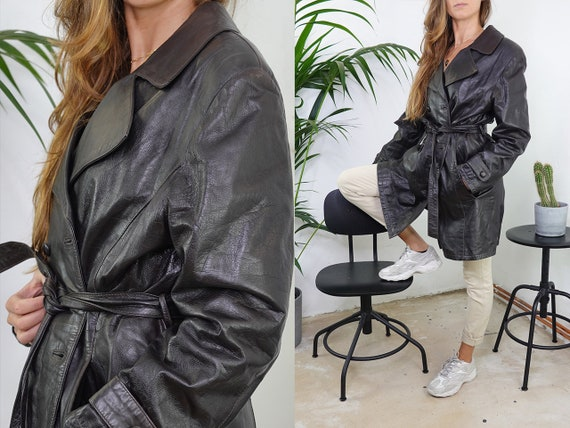 80s Leather Jacket Vintage Black Leather Jacket Re