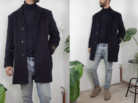 Wool Coat Blue Vintage Wool Coat Winter Warm Wool Coat Mens 80s  Winter Jacket Wool Vintage Clothing Second Hand Mens Clothing  CO180