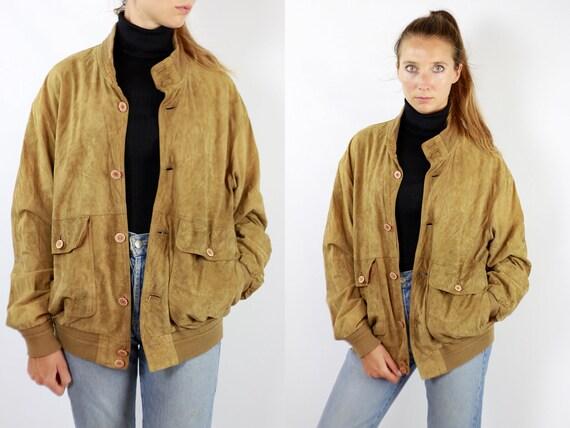 Vintage Suede Jacket Vintage Suede Bomber Suede Bomber Jacket Brown Suede Jacket Brown Bomber Jacket Soft Suede Jacket Large Suede WLJ90