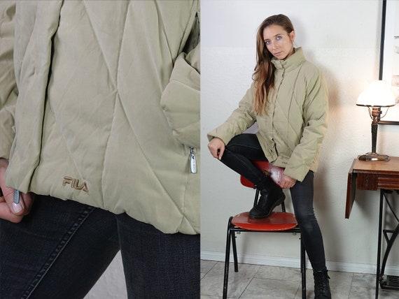 Fila Puffer Jacket Fila 90s Jacket Fila Jacket 90s Puffer jacket Beige puffer Jacket Fila Down Jacket Small Puffer Vintage Clothing JA134