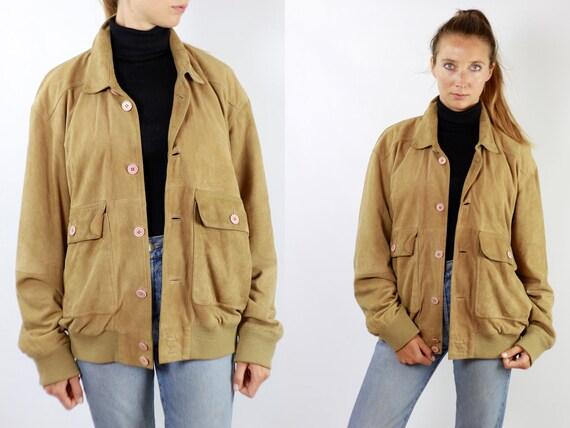 Vintage Suede Jacket Vintage Suede Bomber Suede Bomber Jacket Brown Suede Jacket Brown Bomber Jacket Soft Suede Jacket Large Suede WLJ68