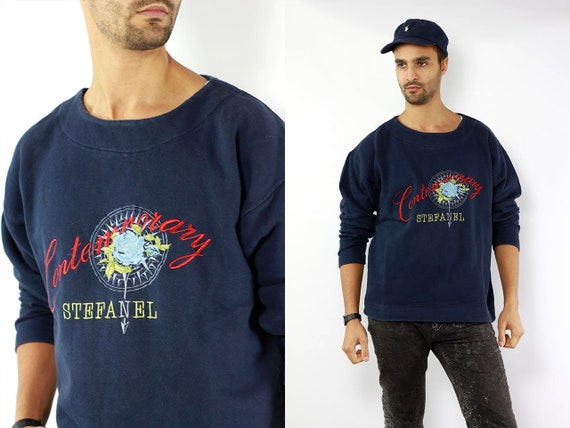 Stefanel Sweater Vintage Blue Jumper Stefanel 90s Sweatshirt Blue Oversize Sweater Vintage Print Sweat Shirt Blue Mens Sweater Vintage 90s