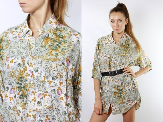 Floral Blouse Summer Blouse Floral Shirt 80s Retro Shirt Vintage Tshirt Women Shirt Vintage Shirts Womens Blouse Boho Vintage Clothing HE105