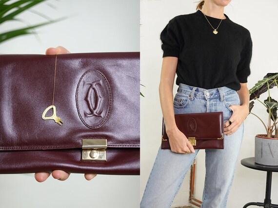 Cartier Bag Leather Bag Leather Shoulder Bag Vintage Bag Grab Bag Pochette Bag Red Leather Bag Red Grab Bag Vintage Clothing BAGCartier