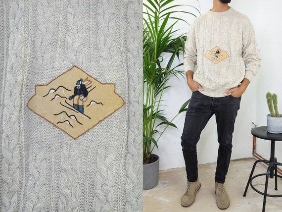 Wool Jumper Wool Sweater Beige Oversize Jumper Knot Pattern Sweater Skii Jumper Mens Jumper Fair Isle Vintage Clothing Second Hand WP209