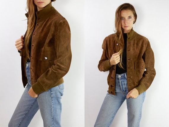 Vintage Suede Jacket Reversible Jacket Vintage Suede Bomber Suede Bomber Jacket Brown Suede Jacket Brown Bomber Jacket Soft Suede JacketSUJ8