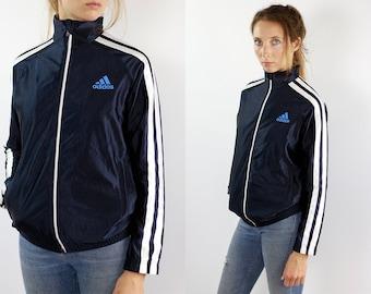 ADIDAS Windbreaker Adidas Track Jacket Adidas Jacket Blue Vintage Windbreaker Vintage Track Jacket 90s Windbreaker Track Jacket Shell Jacket