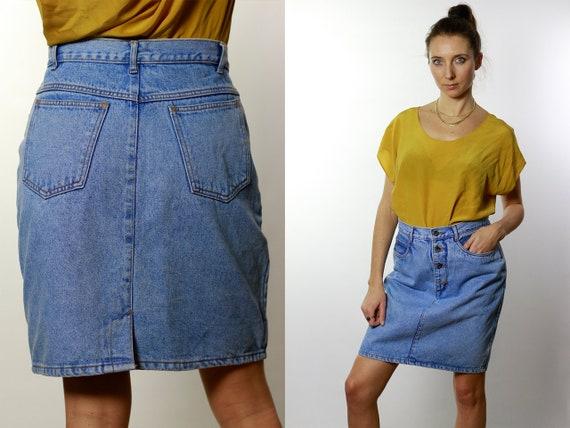 Denim SKIRT High Waist  / Vintage Denim Skirt / Denim Skirt  Vintage / 80s Skirt / Pencil Skirt / Denim Mini Skirt Jean Skirt High Waist R3