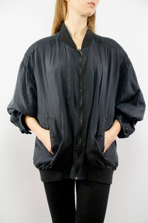 d1748f980 Balloon Jacket Silk / Silk Jacket Black / Oversize Silk Jacket ...