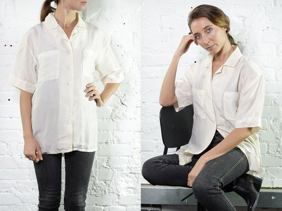 Womens Shirt Vintage Clothing White Blouse Summer blouse Silk Shirt Vintage 80's Shirt Vintage Shirts Womens Shirt Loose Shirt SB17