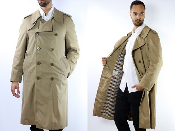 Vintage Trench Coat Long Trench Coat Long Coat Beige Trench Coat Aquascutum Men Coat 80s Trench Coat Summer Coat Double Breasted Coat CO60