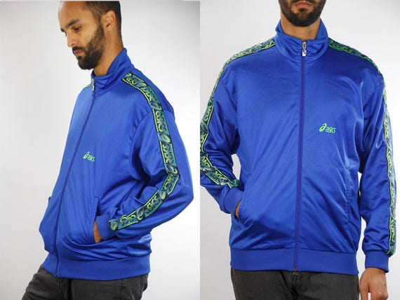 Vintage Windbreaker 90s Windbreaker Streetwear 90s Track Jacket Vintage Track jacket Asics Jacket Men Windbreaker Jacket Blue 90s Jacket Men