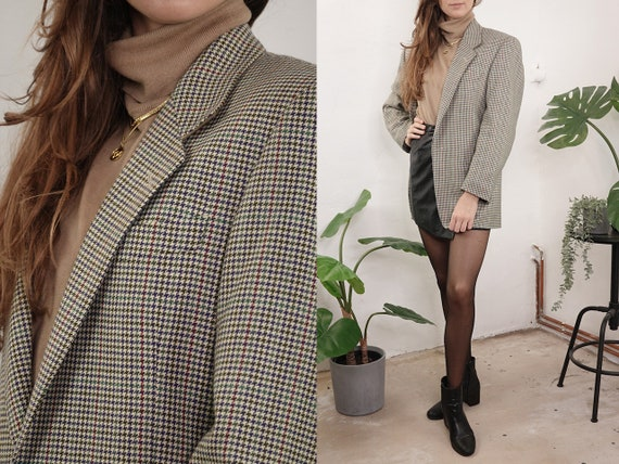 Checked tweed blazer Wool bouclé Blazer Oversize Beige Blogger Tweed Wool Coat Checked Jacket Womens Clothing Vintage Second Hand BL21