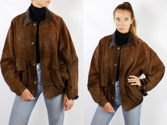 Vintage Suede Jacket Vintage Suede Bomber Suede Bomber Jacket Brown Suede Jacket Brown Bomber Jacket Soft Suede Jacket Large Suede WLJ81
