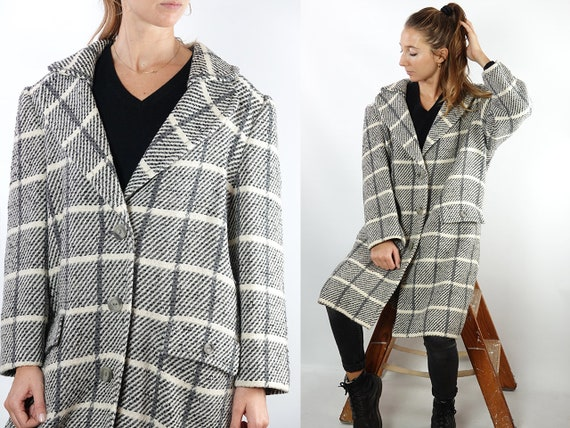 Vintage Coat Vintage Wool Coat Mohair Vintage Coat Checked Wool Coat Winter Coat Vintage Clothing Wool Trench Coat Womens Coat Small CO122