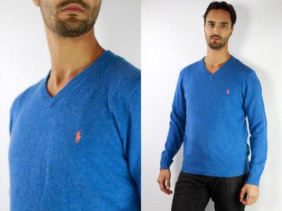 RALPH LAUREN Jumper Ralph Lauren Sweater Ralph Lauren Men Polo Ralph Lauren Blue Wool Jumper Blue Wool Sweater Vintage Jumper P34