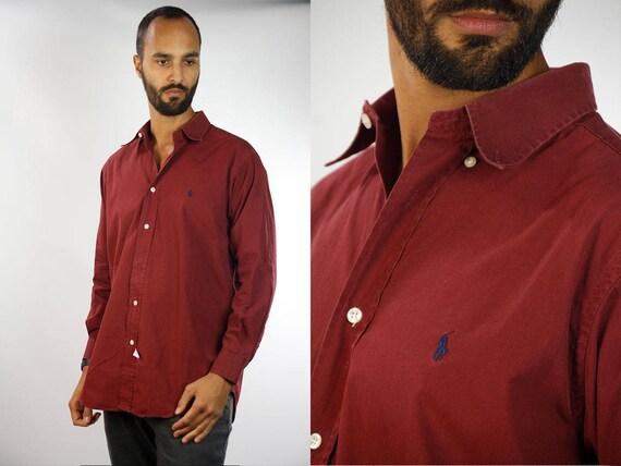 Ralph Lauren / Ralph Lauren Shirt / Vintage Shirt Red / Polo Shirt Men / Vintage Shirt Men / Ralph Lauren Men / Red Shirt Men /YUMMY Vintage