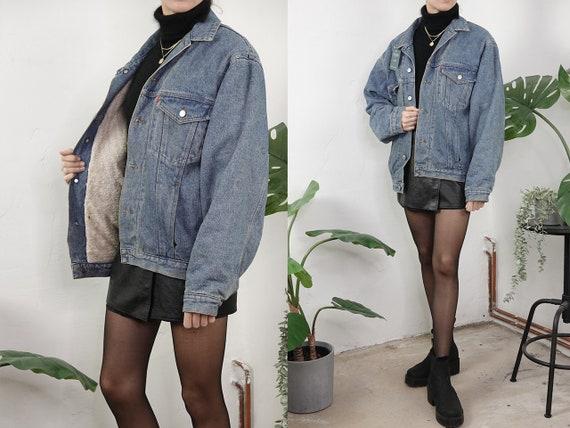 Denim Jacket Sherpa Vintage Jean Jacket Blue Denim Jacket Padded Denim Jacket Lined Warm Denim jacket Second Hand Vintage Clothing SHJ1