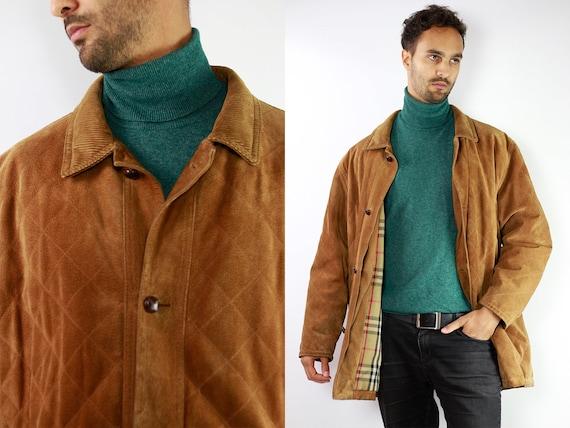 BURBERRYS Coat Leather Burberry Coat Men Burberry Coat Leather Coat Brown BURBERRY Coat Brown Coat Vintage Leather Jacket Burberry Coat CO31