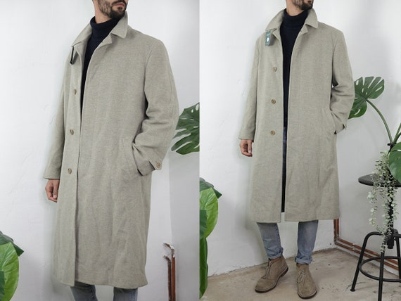 Cashmere Coat Vintage Wool Coat Cashmere Jacket Vintage Coat Beige Mens Coat Winter Second Hand Mens Clothing Vintage Clothing CO179