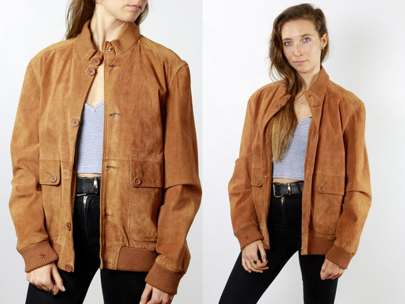Vintage Suede Jacket Vintage Suede Bomber Suede Bomber Jacket Brown Suede Jacket Brown Bomber Jacket Soft Suede Jacket Large Suede SUJ82