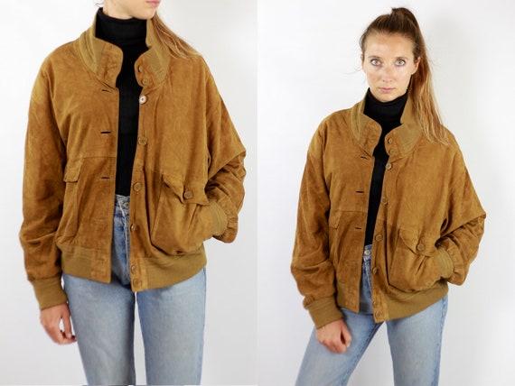 Vintage Suede Jacket Vintage Suede Bomber Suede Bomber Jacket Brown Suede Jacket Brown Bomber Jacket Soft Suede Jacket Large Suede WLJ89
