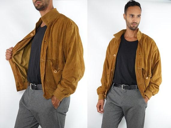Suede Jacket Brown Suede Suede Bomber Jacket Vintage Suede Soft Leather Jacket Oversize Jacket Vintage Clothing 80s Suede Jacket SUJ100