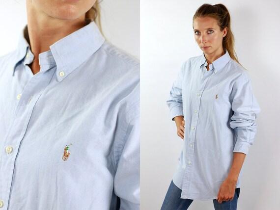 RALPH LAUREN Shirt Ralph Lauren Button Up Baby Blue Shirt Women Baby Blue Blouse Vintage Ralph Lauren Vintage Shirt Oxford Shirt