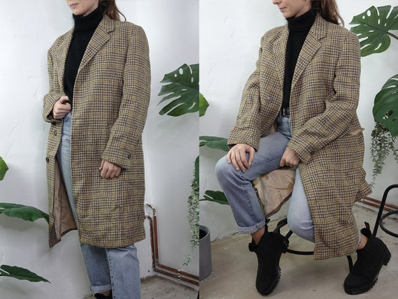 Vintage Coat Vintage Wool Coat Beige Vintage Coat Checked Wool Coat Winter Coat Fashion Vintage Clothing Second Hand Womens Coat Small CO173