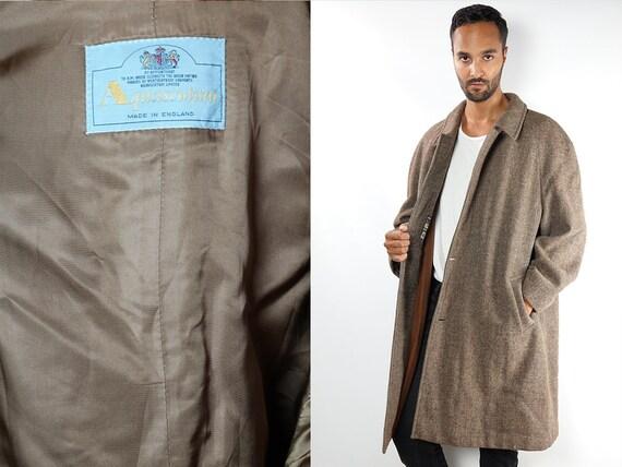 Wool Coat Vintage Wool Coat Mens Coat Long Coat 70s Coat 70s Wool Coat Vintage Clothing Aquascutum Coat Brown Wool Coat