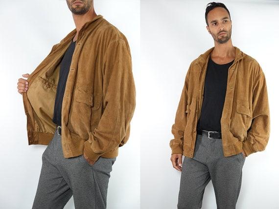 Suede Jacket Brown Suede Suede Bomber Jacket Vintage Suede Soft Leather Jacket Oversize Jacket Vintage Clothing 80s Suede Jacket SUJ102