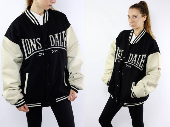 Lonsdale Jacket / Black Bomber Jacket / 90s Bomber Jacket / Winter Bomber Jacket / Lonsdale Vintage Lonsdale College Jacket Bomberjacket J95