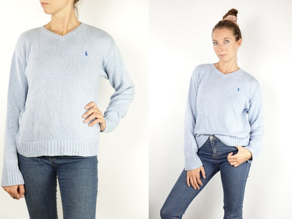 RALPH LAUREN Jumper Ralph Lauren Sweater Ralph Lauren Women Polo Ralph Lauren Blue cotton Jumper Blue cotton Sweater Vintage Jumper WP156