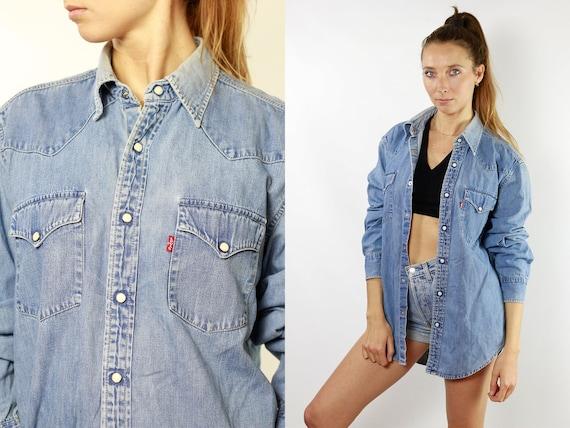 Levis Denim Shirt  Button Down Shirt Levi Jean Shirt Levis Jean Shirt Levis Shirt Womens Shirt Hipster Shirt Work Shirt Blue Jean Shirt JH12