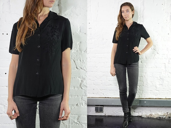 Silk Shirt Summer blouse Vintage 80's Shirt Womens Shirt Vintage Shirts Womens Shirt Vintage Clothing Loose Shirt Embroidered Blouse SB7