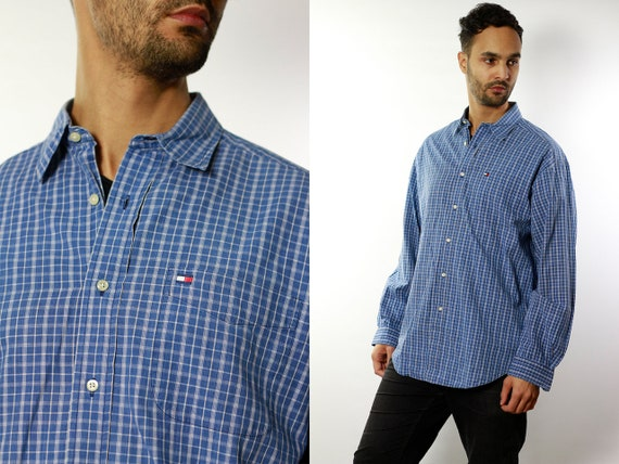 Tommy Hilfiger Shirt Tommy Hilfiger Button Up Blue Shirt Mens Shirt Checked Vintage Tommy Hilfiger Vintage Shirt Oxford Shirt Tommy Hilfiger